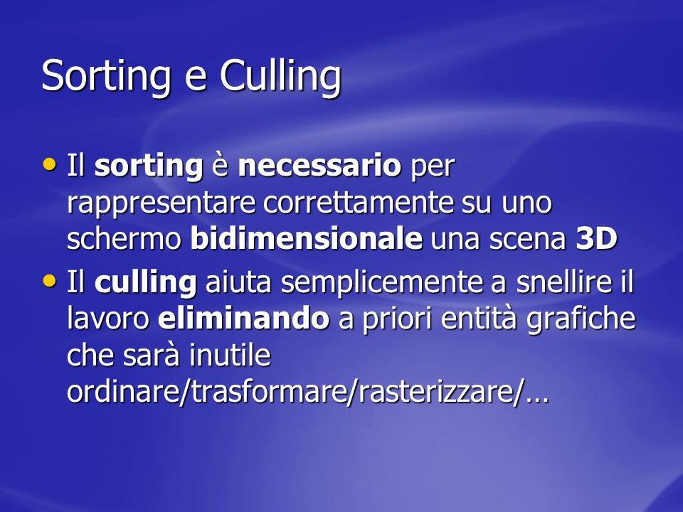 Sorting e Culling Il sorting è necessario per rappresentare correttamente su uno schermo bidimensionale una scena 3D Il sorting è necessario per rappr