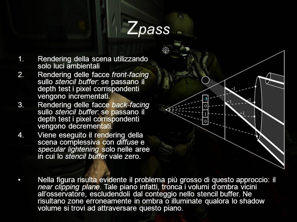 Z pass 1.Rendering della scena utilizzando solo luci ambientali 2.Rendering delle facce front-facing sullo stencil buffer: se passano il depth test i pixel corrispondenti vengono incrementati.