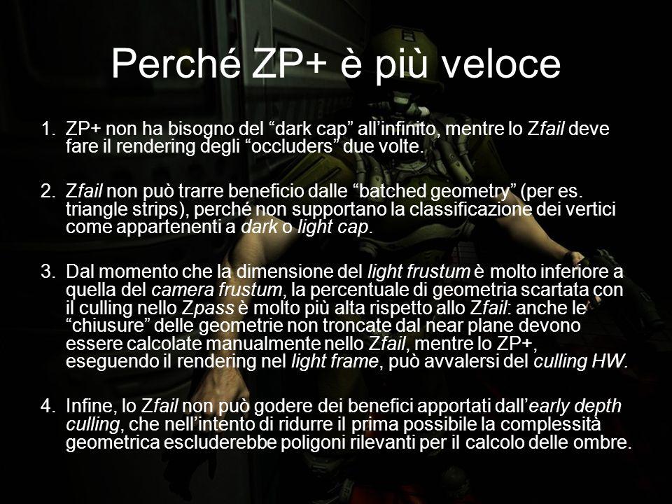 Perché ZP+ è più veloce 1.ZP+ non ha bisogno del dark cap allinfinito, mentre lo Zfail deve fare il rendering degli occluders due volte.