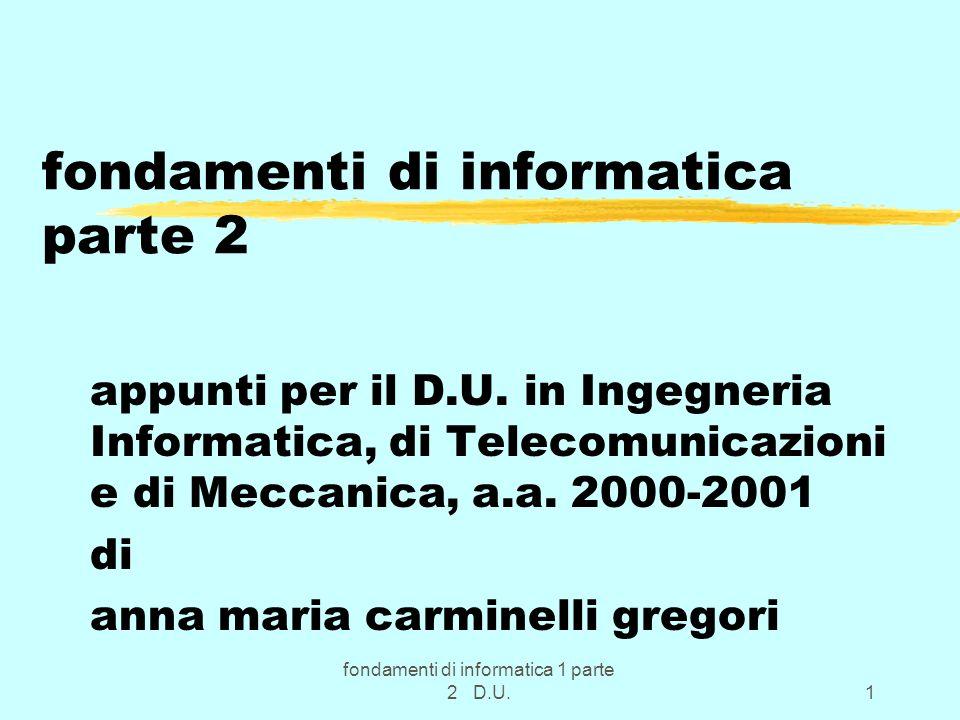 fondamenti di informatica 1 parte 2 D.U.12 Parte fondamentale del DOS zTra i programmi fondamentali ci sono: zCOMMAND.COM la shell del DOS ; zIO.SYS, MSDOS.SYS System_file & Kernel nel senso gia indicato.