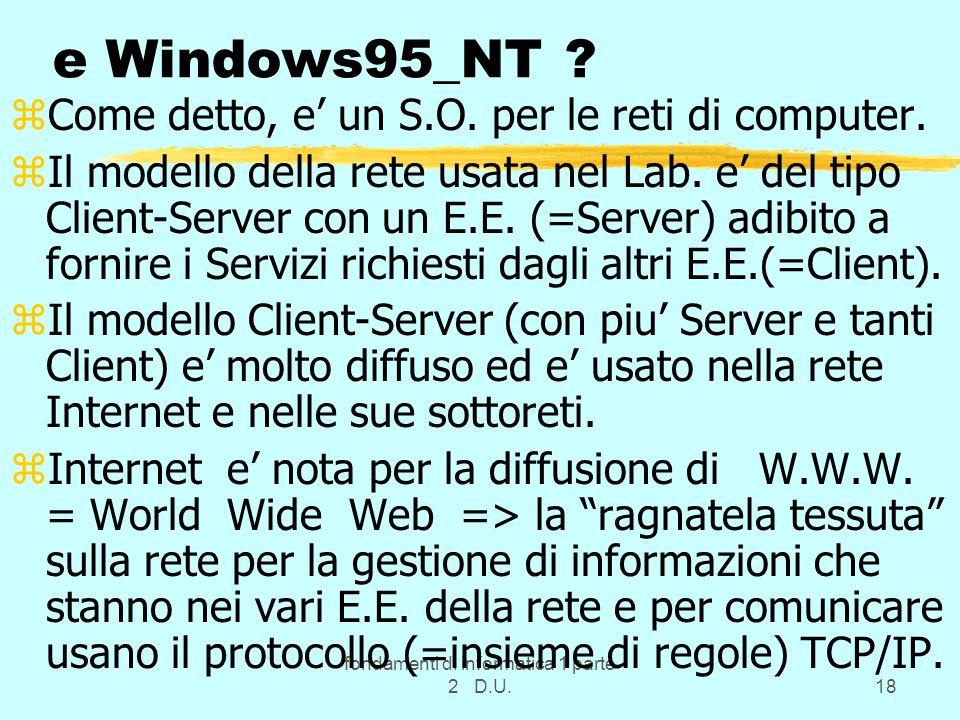 fondamenti di informatica 1 parte 2 D.U.18 e Windows95_NT ? zCome detto, e un S.O. per le reti di computer. zIl modello della rete usata nel Lab. e de
