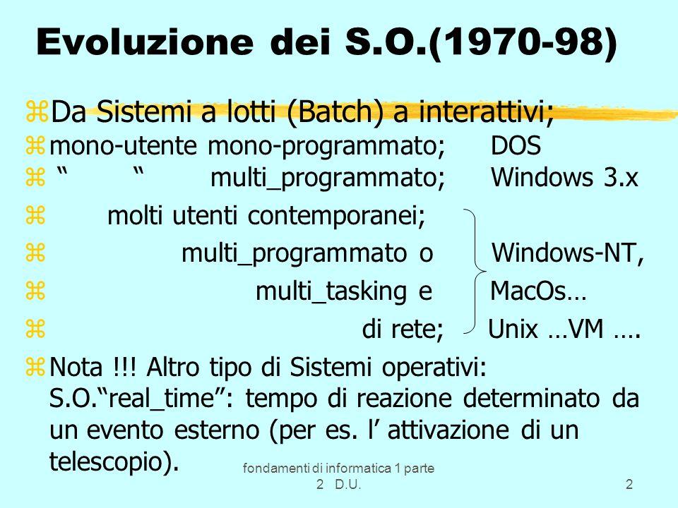 fondamenti di informatica 1 parte 2 D.U.2 Evoluzione dei S.O.(1970-98) zDa Sistemi a lotti (Batch) a interattivi; zmono-utente mono-programmato; DOS z