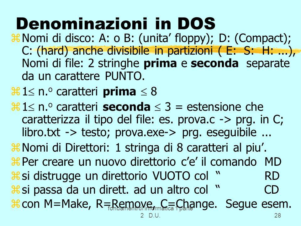 fondamenti di informatica 1 parte 2 D.U.28 Denominazioni in DOS zNomi di disco: A: o B: (unita floppy); D: (Compact); C: (hard) anche divisibile in pa