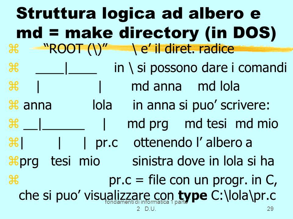 fondamenti di informatica 1 parte 2 D.U.29 Struttura logica ad albero e md = make directory (in DOS) z ROOT (\) \ e il diret. radice z ____|____ in \