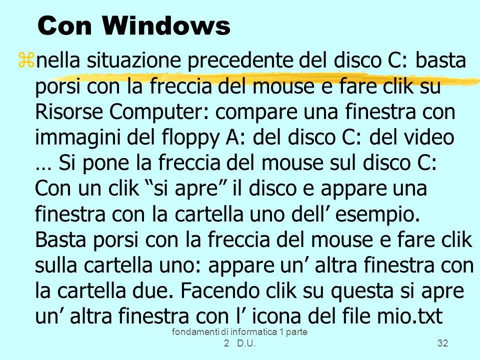 fondamenti di informatica 1 parte 2 D.U.32 Con Windows znella situazione precedente del disco C: basta porsi con la freccia del mouse e fare clik su R