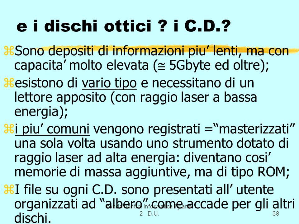 fondamenti di informatica 1 parte 2 D.U.38 e i dischi ottici ? i C.D.? zSono depositi di informazioni piu lenti, ma con capacita molto elevata ( 5Gbyt