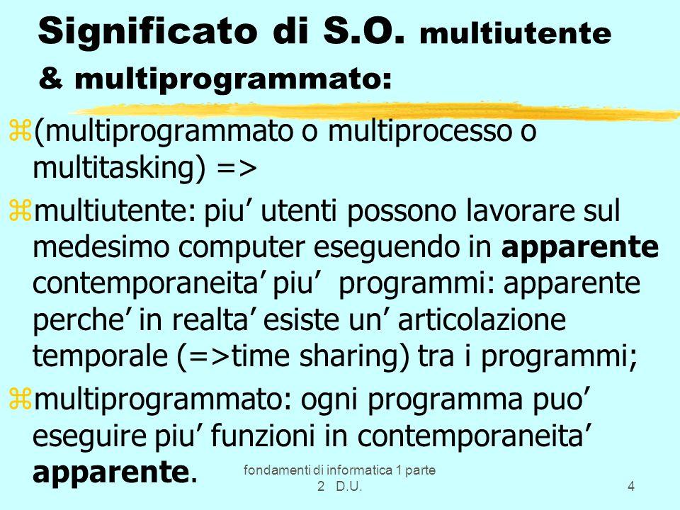 fondamenti di informatica 1 parte 2 D.U.5 Subito 2 esempi zCon il Personal si usa il DOS e/o +spesso Windows in modalita singolo utente; znel Laboratorio di Informatica e usato Windows_NT (NT=NeTwork) ossia un S.O.