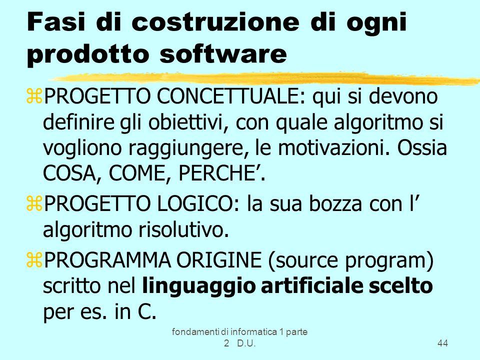 fondamenti di informatica 1 parte 2 D.U.44 Fasi di costruzione di ogni prodotto software zPROGETTO CONCETTUALE: qui si devono definire gli obiettivi,