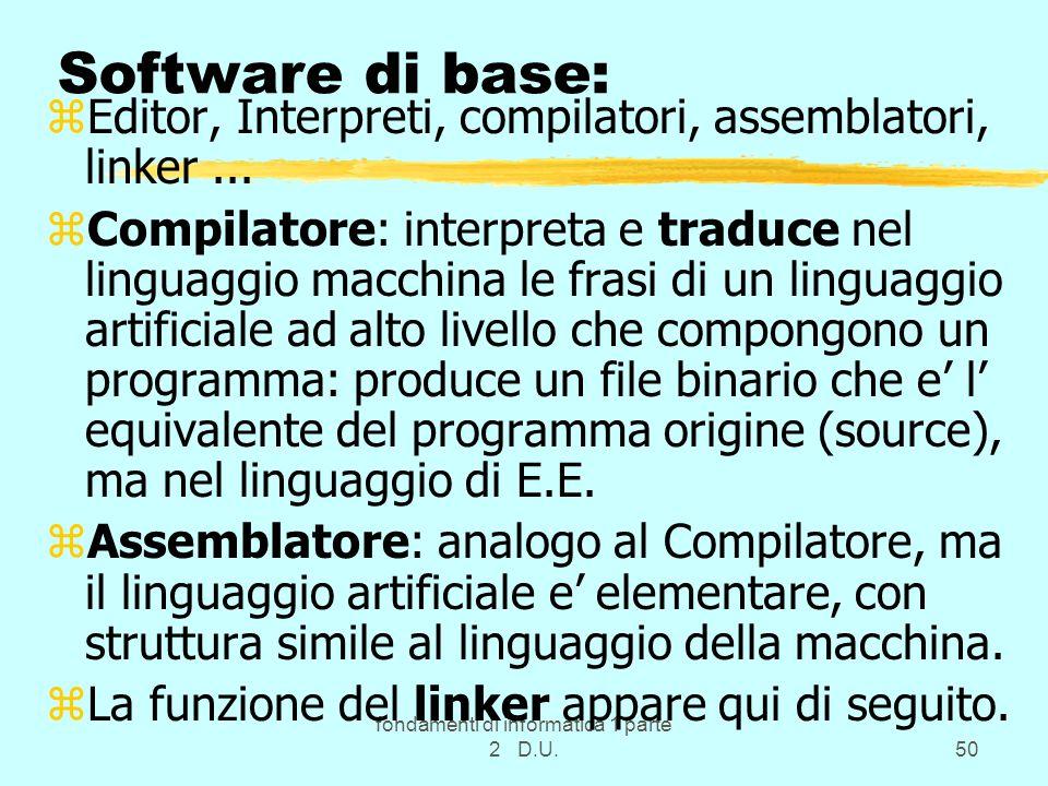 fondamenti di informatica 1 parte 2 D.U.50 Software di base: zEditor, Interpreti, compilatori, assemblatori, linker... zCompilatore: interpreta e trad