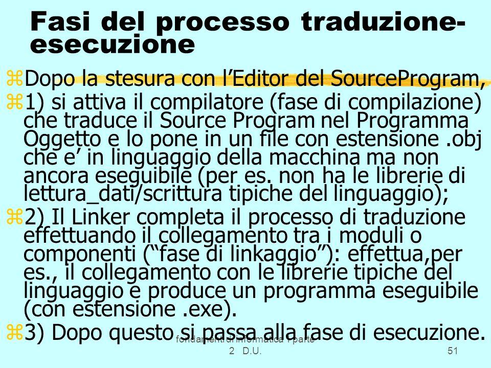 fondamenti di informatica 1 parte 2 D.U.51 Fasi del processo traduzione- esecuzione zDopo la stesura con lEditor del SourceProgram, z1) si attiva il c