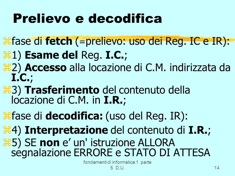 fondamenti di informatica 1 parte 5 D.U.14 Prelievo e decodifica zfase di fetch ( = prelievo: uso dei Reg.