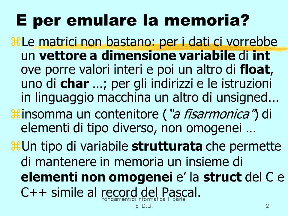 fondamenti di informatica 1 parte 5 D.U.2 E per emulare la memoria.