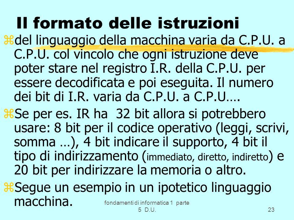 fondamenti di informatica 1 parte 5 D.U.23 Il formato delle istruzioni zdel linguaggio della macchina varia da C.P.U.