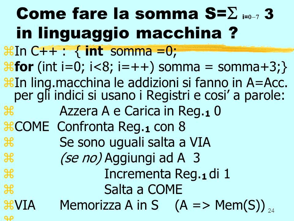 24 Come fare la somma S= i = 3 in linguaggio macchina .