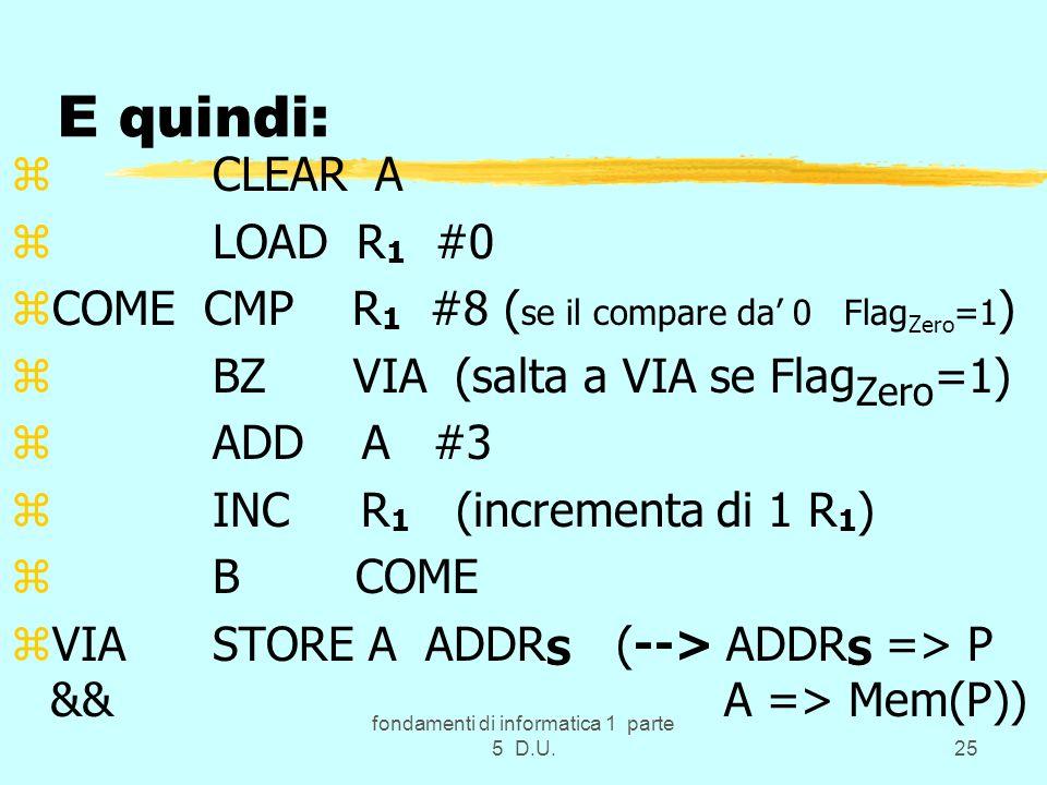 fondamenti di informatica 1 parte 5 D.U.25 E quindi: z CLEAR A z LOAD R 1 #0 zCOME CMP R 1 #8 ( se il compare da 0 Flag Zero =1 ) z BZ VIA (salta a VIA se Flag Zero =1) z ADD A #3 z INC R 1 (incrementa di 1 R 1 ) z B COME zVIA STORE A ADDR S (--> ADDR S => P && A => Mem(P))