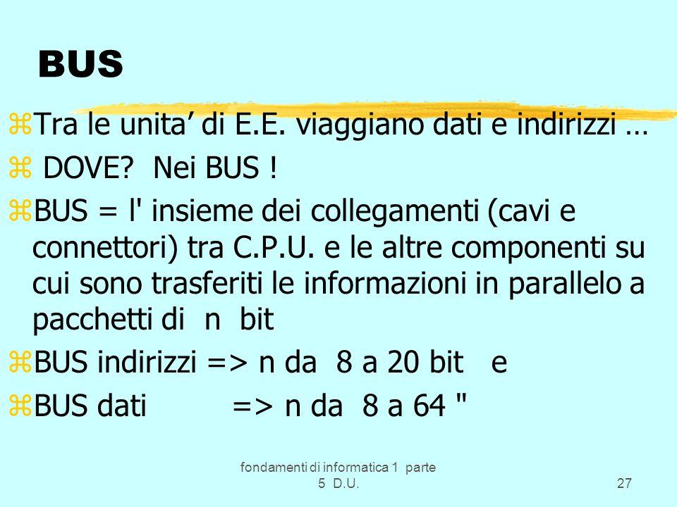 fondamenti di informatica 1 parte 5 D.U.27 BUS zTra le unita di E.E.