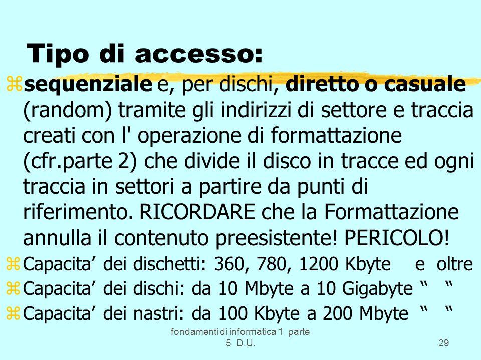 fondamenti di informatica 1 parte 5 D.U.29 Tipo di accesso: zsequenziale e, per dischi, diretto o casuale (random) tramite gli indirizzi di settore e traccia creati con l operazione di formattazione (cfr.parte 2) che divide il disco in tracce ed ogni traccia in settori a partire da punti di riferimento.