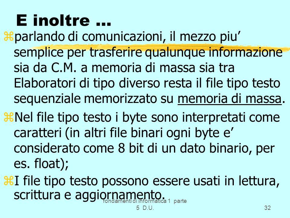 fondamenti di informatica 1 parte 5 D.U.32 E inoltre … zparlando di comunicazioni, il mezzo piu semplice per trasferire qualunque informazione sia da C.M.