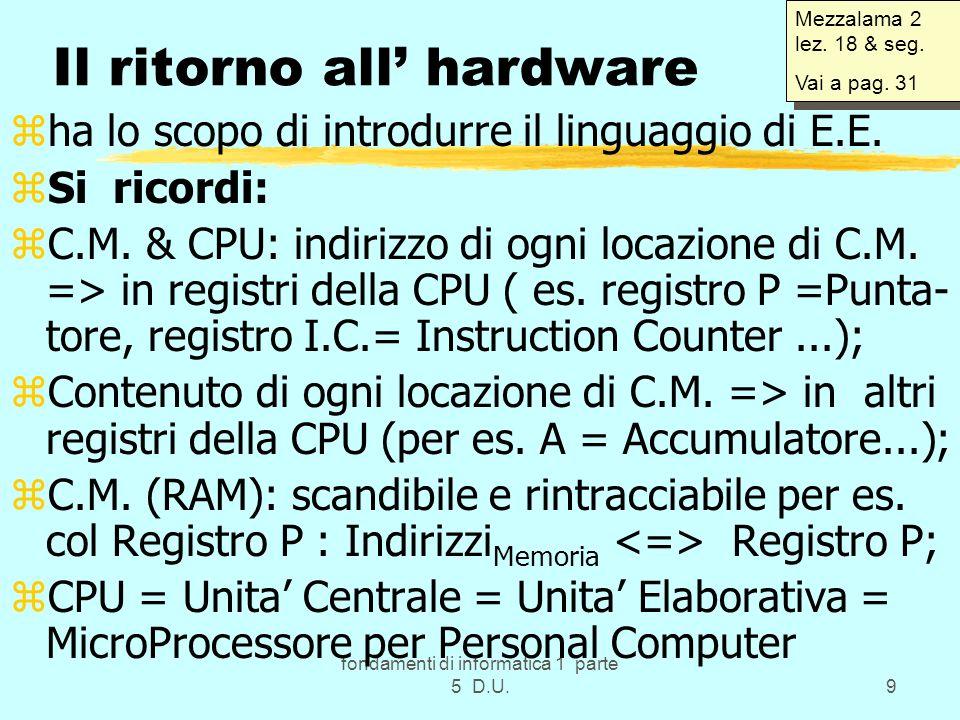 fondamenti di informatica 1 parte 5 D.U.9 Il ritorno all hardware zha lo scopo di introdurre il linguaggio di E.E.