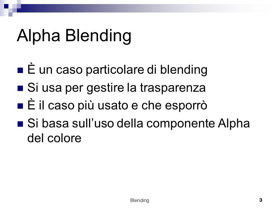 Blending3 Alpha Blending È un caso particolare di blending Si usa per gestire la trasparenza È il caso più usato e che esporrò Si basa sulluso della c