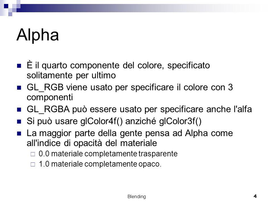 Blending4 Alpha È il quarto componente del colore, specificato solitamente per ultimo GL_RGB viene usato per specificare il colore con 3 componenti GL