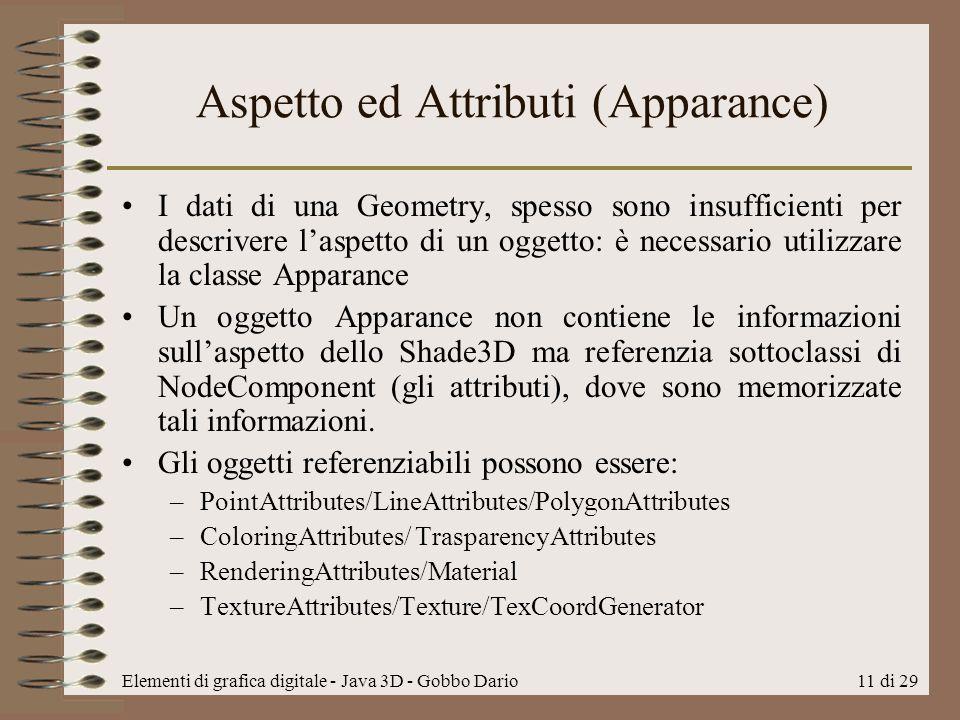 Elementi di grafica digitale - Java 3D - Gobbo Dario11 di 29 Aspetto ed Attributi (Apparance) I dati di una Geometry, spesso sono insufficienti per de