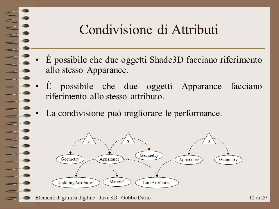 Elementi di grafica digitale - Java 3D - Gobbo Dario12 di 29 Condivisione di Attributi È possibile che due oggetti Shade3D facciano riferimento allo s