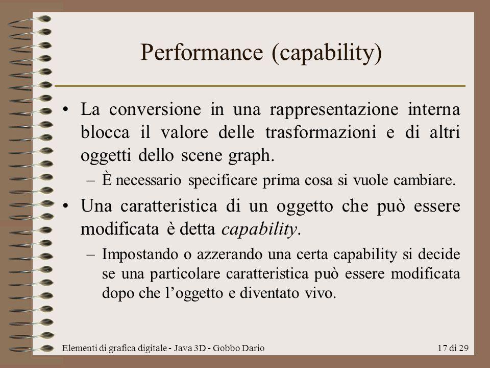 Elementi di grafica digitale - Java 3D - Gobbo Dario17 di 29 Performance (capability) La conversione in una rappresentazione interna blocca il valore