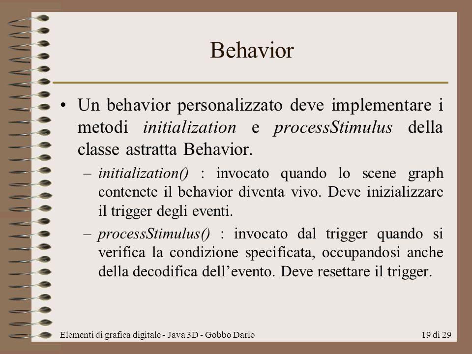 Elementi di grafica digitale - Java 3D - Gobbo Dario19 di 29 Behavior Un behavior personalizzato deve implementare i metodi initialization e processSt