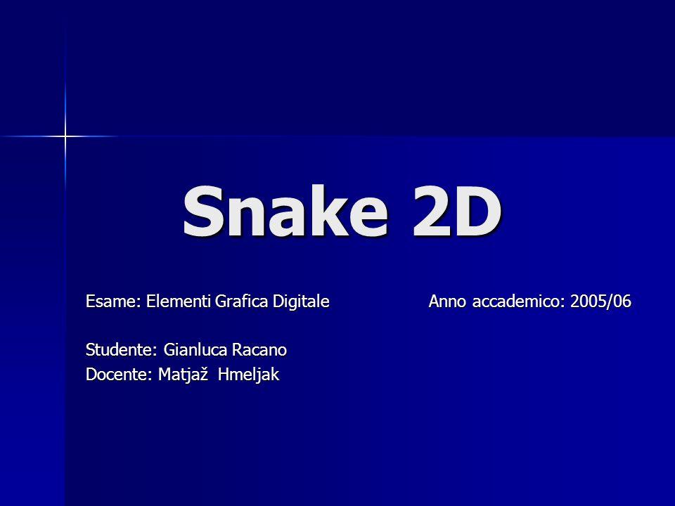 Snake 2D Snake 2D Esame: Elementi Grafica Digitale Anno accademico: 2005/06 Studente: Gianluca Racano Docente: Matjaž Hmeljak