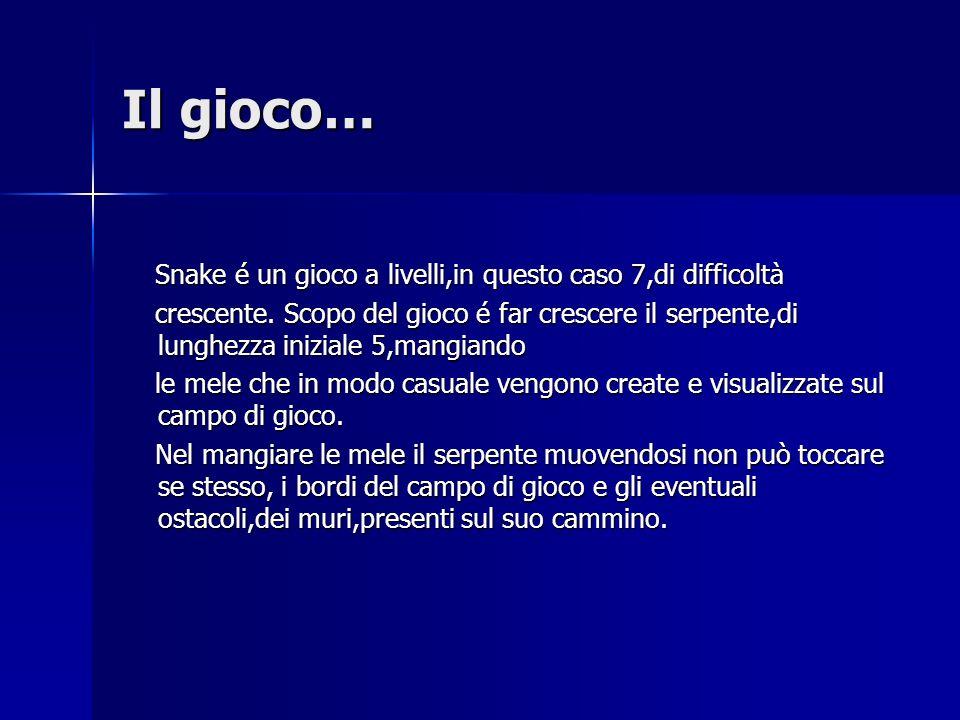 Il gioco… Snake é un gioco a livelli,in questo caso 7,di difficoltà Snake é un gioco a livelli,in questo caso 7,di difficoltà crescente.