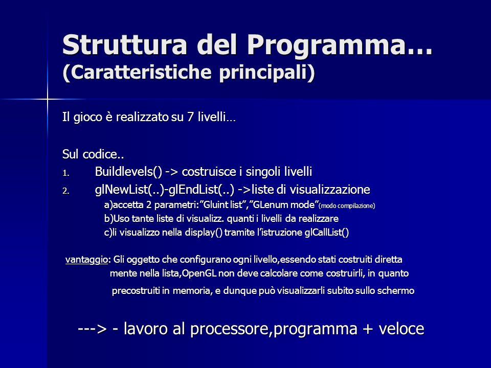 Struttura del Programma… (Caratteristiche principali) Il gioco è realizzato su 7 livelli… Sul codice..