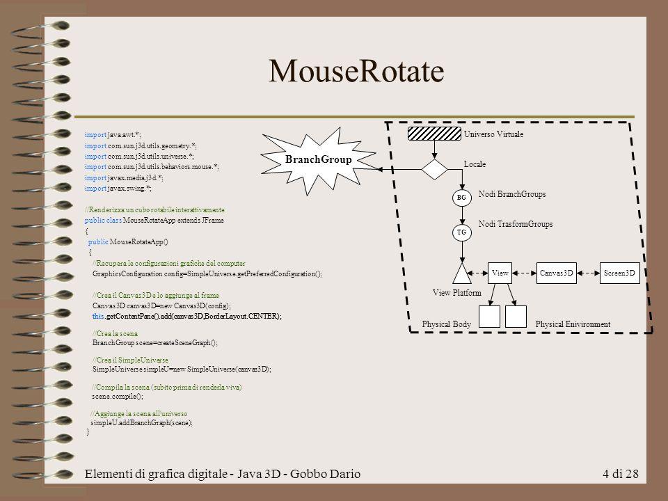 Elementi di grafica digitale - Java 3D - Gobbo Dario4 di 28 MouseRotate import java.awt.*; import com.sun.j3d.utils.geometry.*; import com.sun.j3d.utils.universe.*; import com.sun.j3d.utils.behaviors.mouse.*; import javax.media.j3d.*; import javax.swing.*; //Renderizza un cubo rotabile interattivamente public class MouseRotateApp extends JFrame { public MouseRotateApp() { //Recupera le configurazioni grafiche del computer GraphicsConfiguration config=SimpleUniverse.getPreferredConfiguration(); //Crea il Canvas3D e lo aggiunge al frame Canvas3D canvas3D=new Canvas3D(config); this.getContentPane().add(canvas3D,BorderLayout.CENTER); BG TG Canvas3DScreen3DView Universo Virtuale Locale Nodi BranchGroups Nodi TrasformGroups View Platform Physical Body Physical Enivironment BranchGroup this.getContentPane().add(canvas3D,BorderLayout.CENTER); //Crea la scena BranchGroup scene=createSceneGraph(); //Crea il SimpleUniverse SimpleUniverse simpleU=new SimpleUniverse(canvas3D); //Compila la scena (subito prima di renderla viva) scene.compile(); //Aggiunge la scena all universo simpleU.addBranchGraph(scene); }
