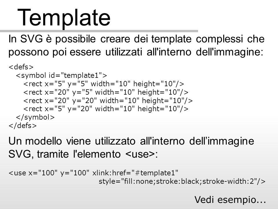 Template In SVG è possibile creare dei template complessi che possono poi essere utilizzati all interno dell immagine: Un modello viene utilizzato all interno dellimmagine SVG, tramite l elemento : Vedi esempio...
