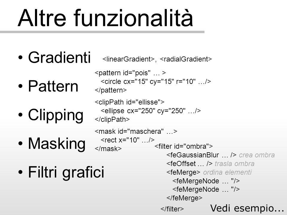Altre funzionalità Gradienti Pattern Clipping Masking Filtri grafici, crea ombra trasla ombra ordina elementi Vedi esempio...
