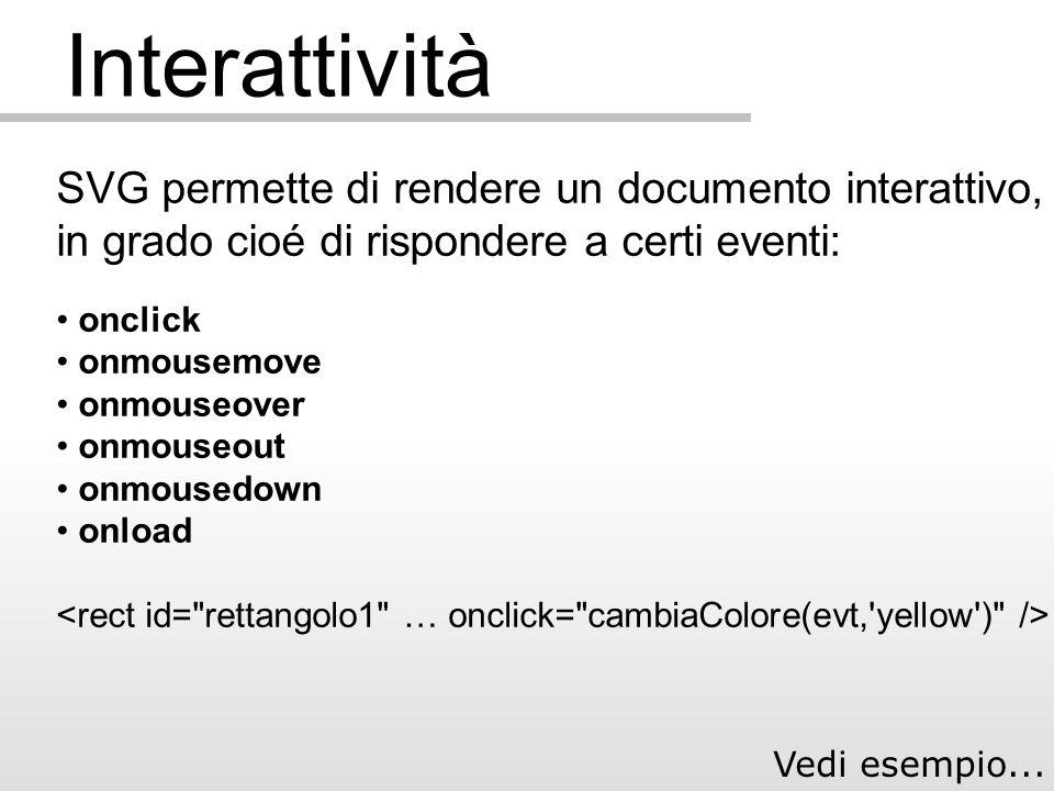 Interattività SVG permette di rendere un documento interattivo, in grado cioé di rispondere a certi eventi: onclick onmousemove onmouseover onmouseout onmousedown onload Vedi esempio...