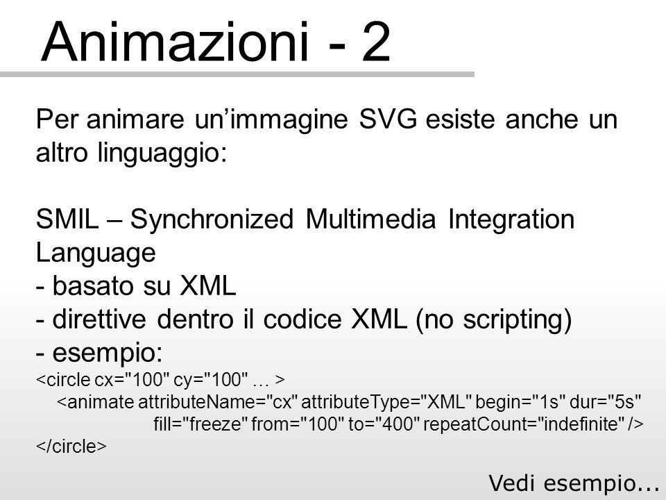 Animazioni - 2 Per animare unimmagine SVG esiste anche un altro linguaggio: SMIL – Synchronized Multimedia Integration Language - basato su XML - direttive dentro il codice XML (no scripting) - esempio: Vedi esempio...
