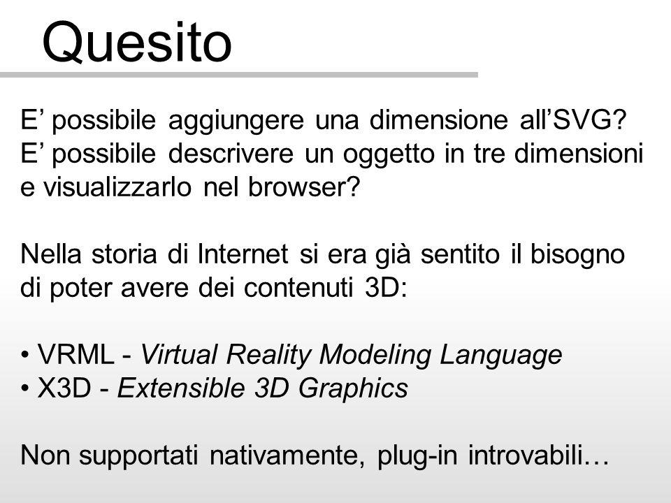 Quesito E possibile aggiungere una dimensione allSVG? E possibile descrivere un oggetto in tre dimensioni e visualizzarlo nel browser? Nella storia di