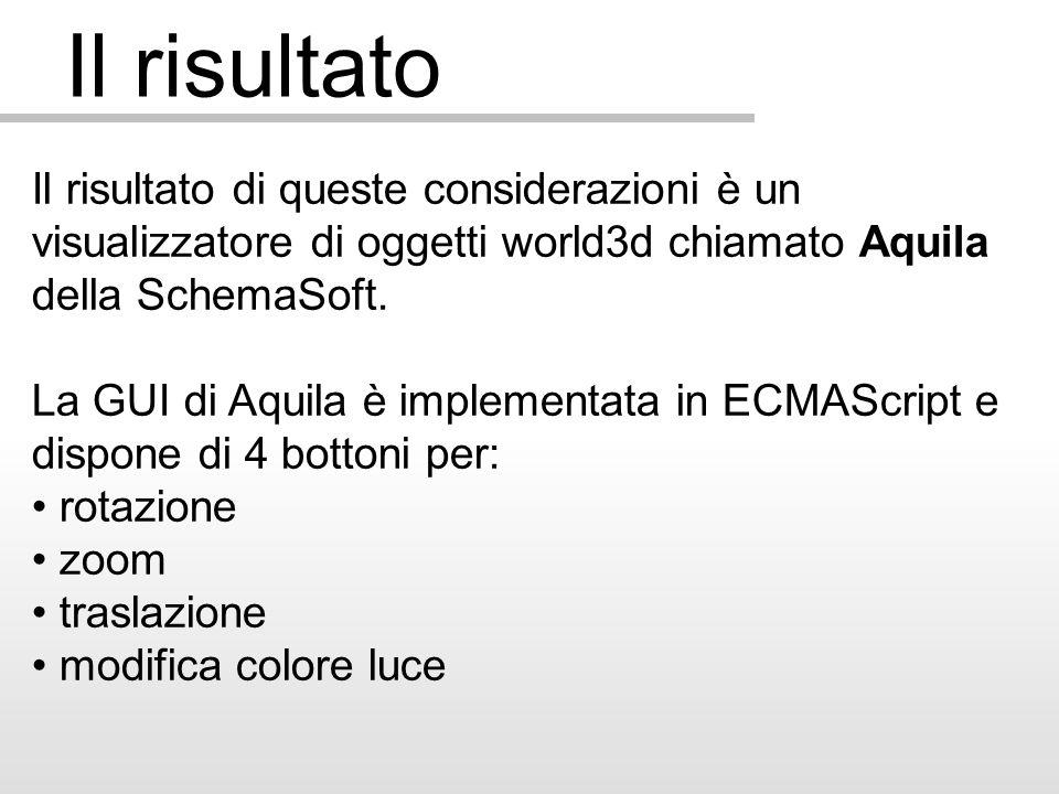Il risultato Il risultato di queste considerazioni è un visualizzatore di oggetti world3d chiamato Aquila della SchemaSoft.