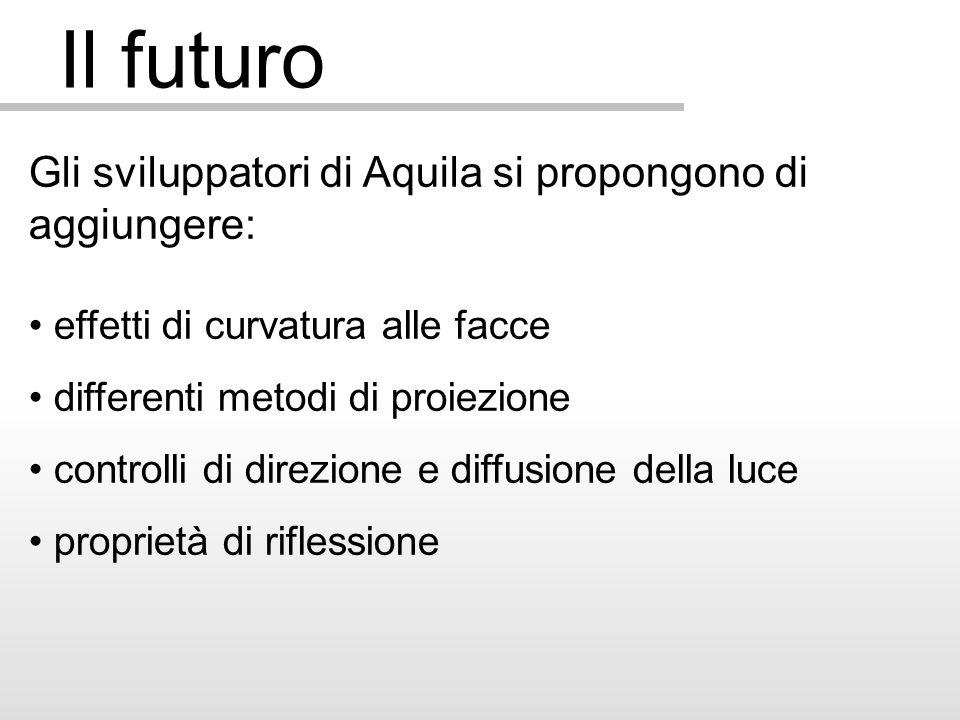 Il futuro Gli sviluppatori di Aquila si propongono di aggiungere: effetti di curvatura alle facce differenti metodi di proiezione controlli di direzione e diffusione della luce proprietà di riflessione