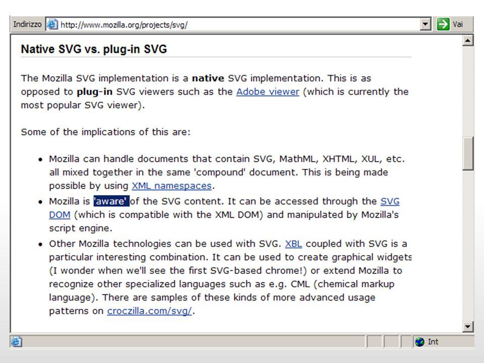 Rendering e interazione Scelgono un architettura di elaborazione client-side: lo scripting client-side permette la ricostruzione al volo del DOM dellSVG lo scripting è molto più veloce delle trasformazioni XSLT