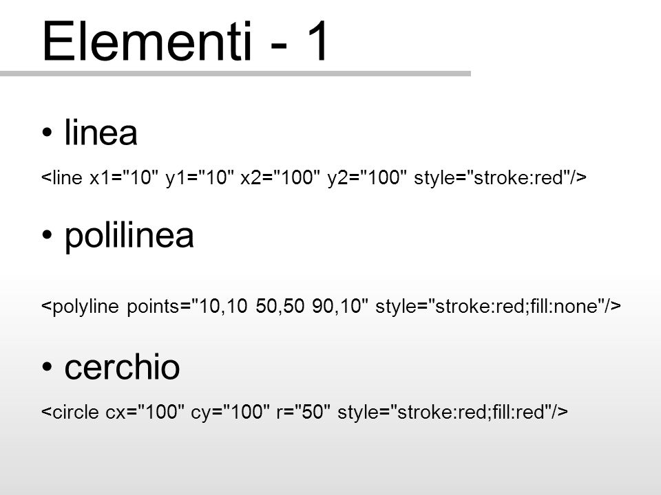Animazioni - 1 Con la tecnica dello scripting si possono generare delle animazioni interattive: Start var posizionex=parseFloat(elemento.getAttribute( cx )); posizionex++; if (posizionex<351) { elemento.setAttribute( cx ,posizionex); scrittaCx.firstChild.nodeValue=posizionex; setTimeout( anima() ,intervallo); } Vedi esempio...