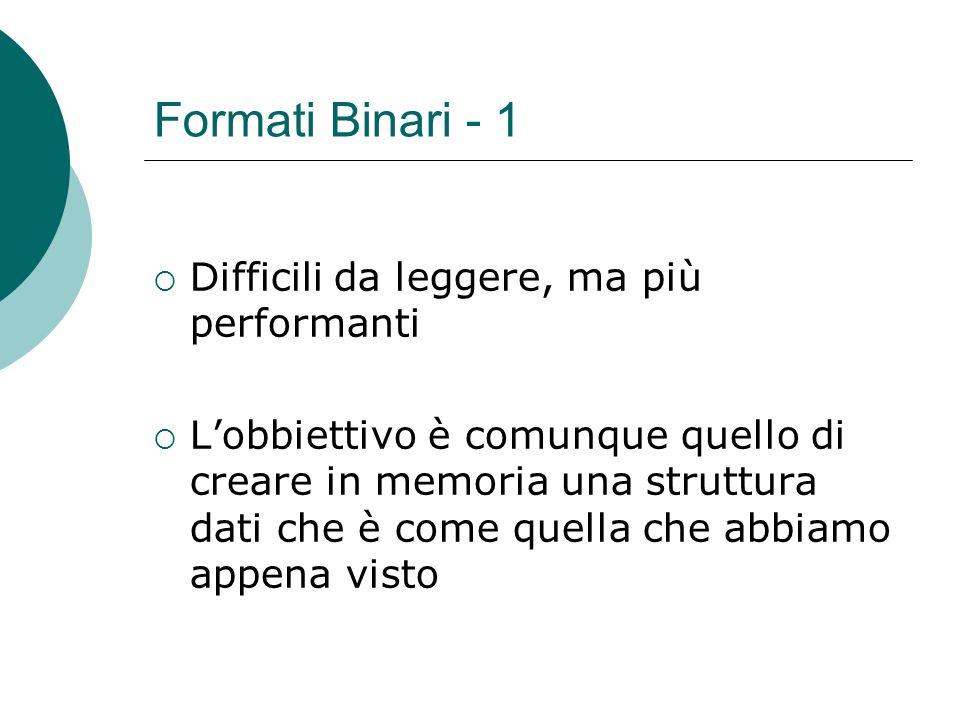 Formati Binari - 1 Difficili da leggere, ma più performanti Lobbiettivo è comunque quello di creare in memoria una struttura dati che è come quella che abbiamo appena visto