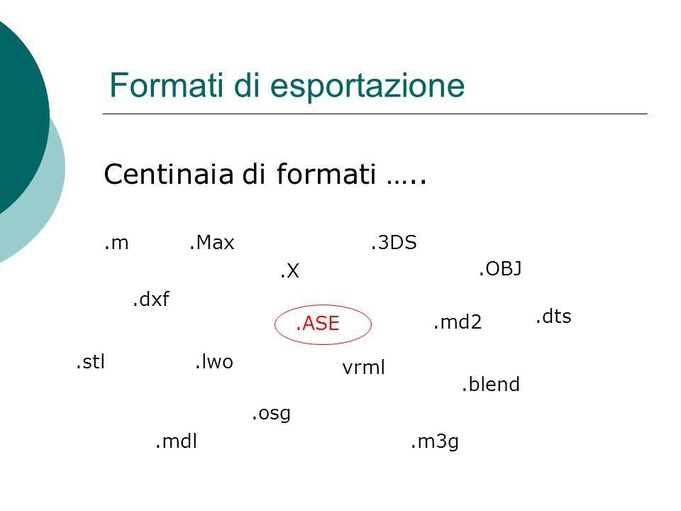 Formati di esportazione.ASE.3DS.OBJ.X.Max.lwo.dxf Centinaia di formati …..