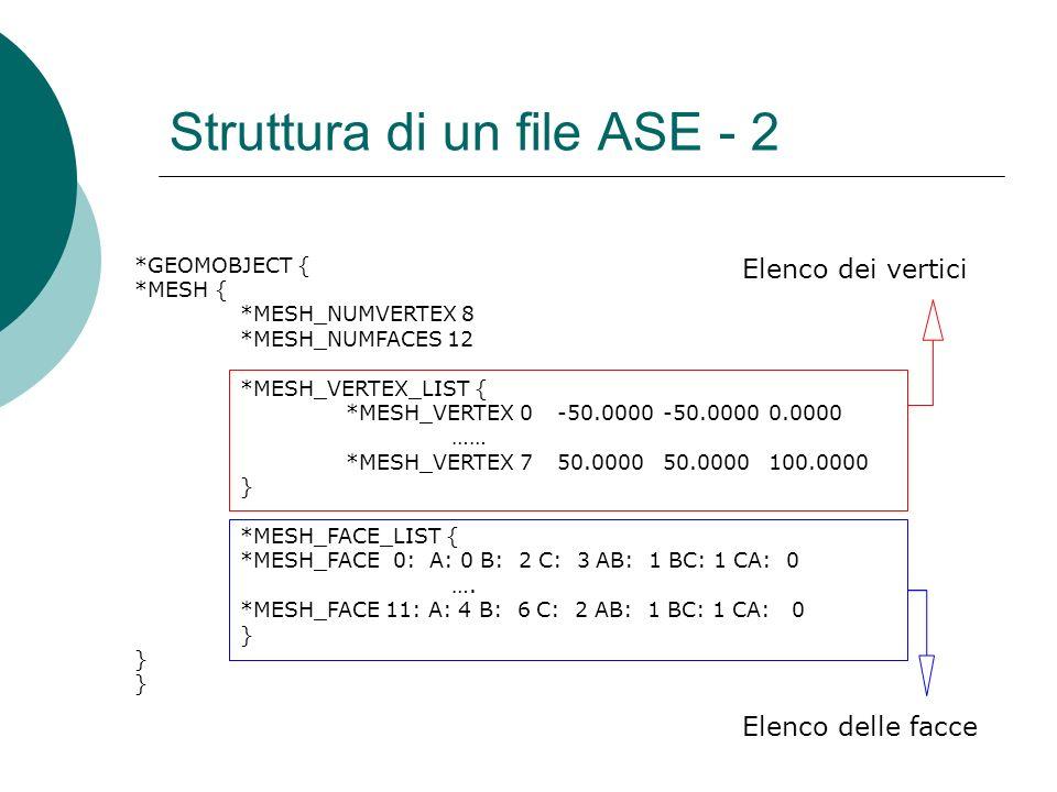 Struttura di un file ASE - 2 *GEOMOBJECT { *MESH { *MESH_NUMVERTEX 8 *MESH_NUMFACES 12 *MESH_VERTEX_LIST { *MESH_VERTEX 0-50.0000-50.00000.0000 …… *MESH_VERTEX 750.000050.0000100.0000 } *MESH_FACE_LIST { *MESH_FACE 0: A: 0 B: 2 C: 3 AB: 1 BC: 1 CA: 0 ….