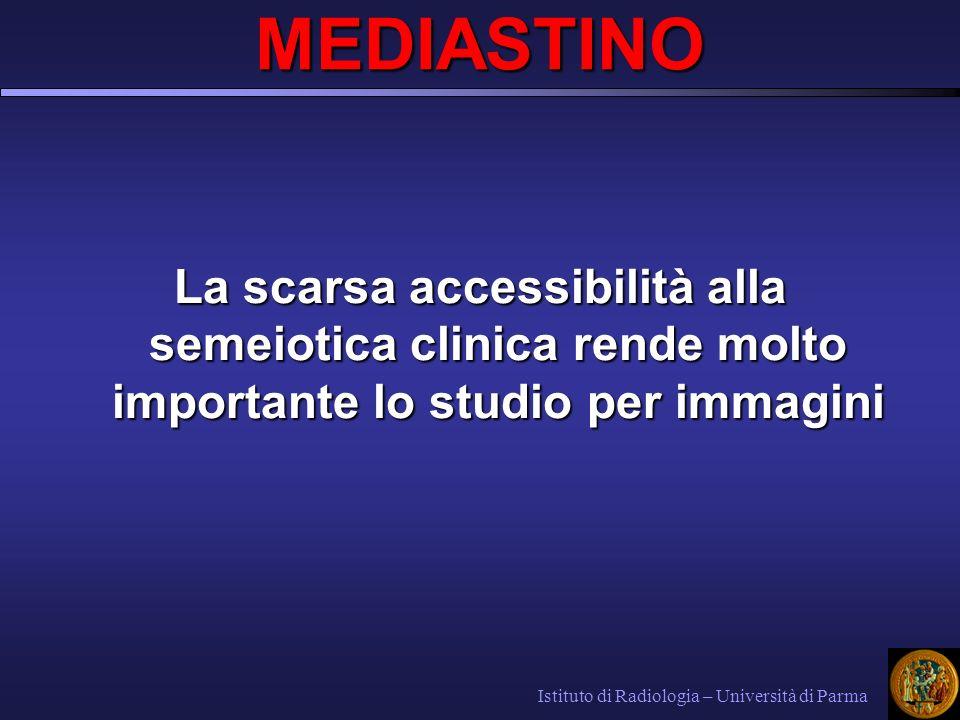 La scarsa accessibilità alla semeiotica clinica rende molto importante lo studio per immagini Istituto di Radiologia – Università di Parma MEDIASTINO