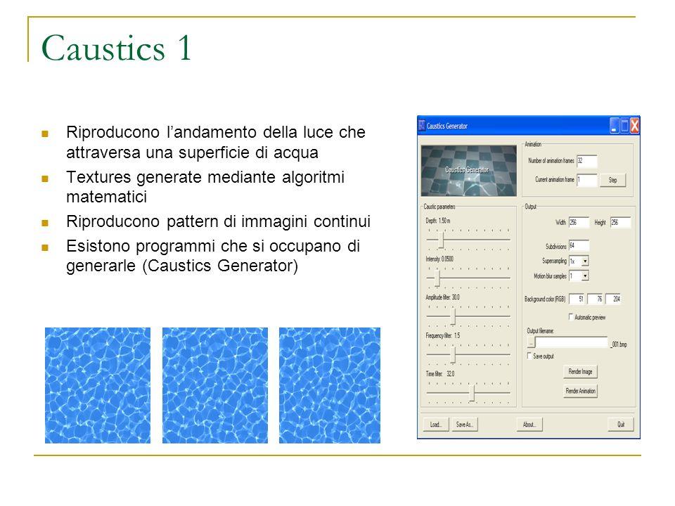 Caustics 1 Riproducono landamento della luce che attraversa una superficie di acqua Textures generate mediante algoritmi matematici Riproducono pattern di immagini continui Esistono programmi che si occupano di generarle (Caustics Generator)