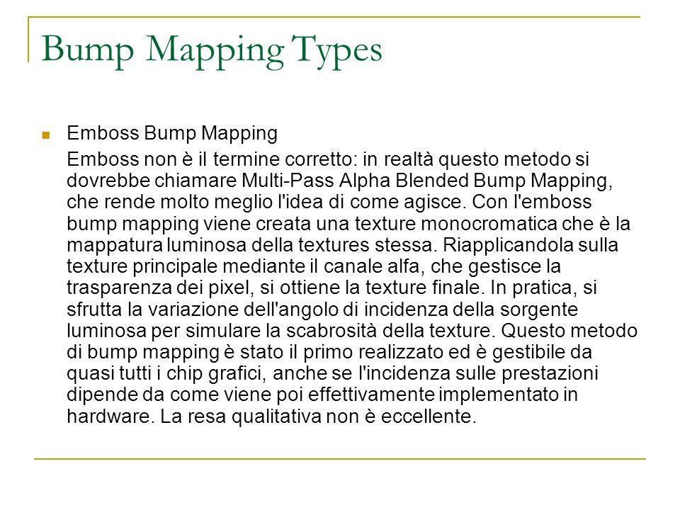 Bump Mapping Types Environment map bump mapping : è uno tra i metodi più nuovi apparsi nel campo della grafica 3D.