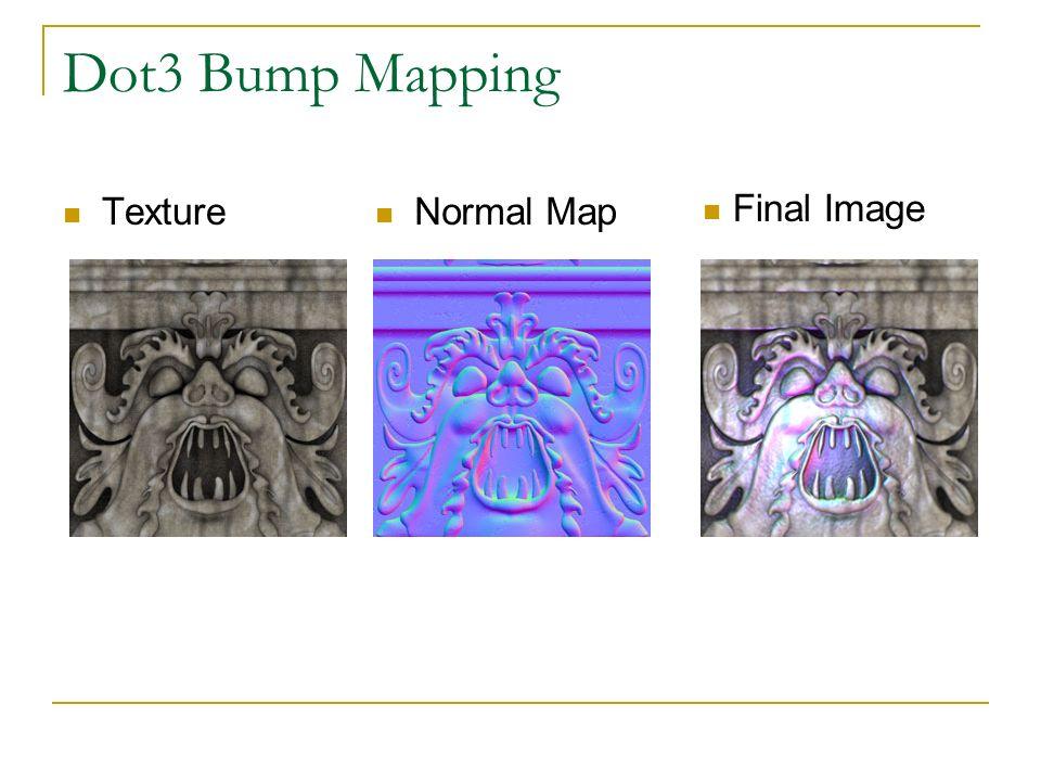 Bump Mapping (Normal Map) Generata da programmi dedicati a partire dalla immagine della texture di partenza.