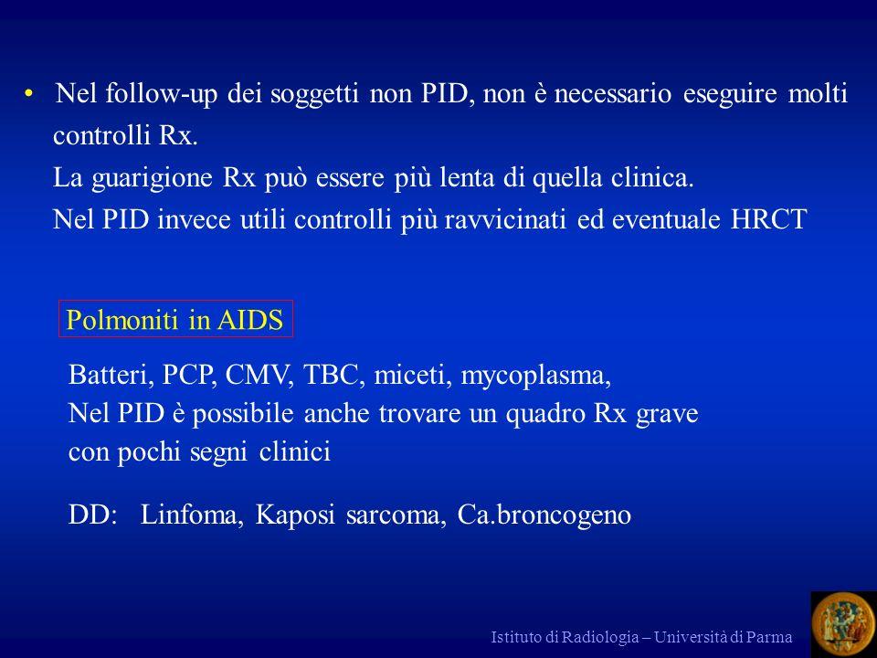 Istituto di Radiologia – Università di Parma NODULO ISOLATO (Coin Lesion) Asintomatico Scoperta casuale o per screening (?) Diametro < 3 cm Criteri di benignità Rx Tipiche calcificazioni o grasso 2 years rule (cercare i precedenti) Se no, analisi morfologica, diametro, valutazione bayesiana della probabilità clinica: Bayes: - se pz < 30 anni, probabilità di ca br < 1% - 30 – 45 anni = 15 % - > 50 anni e fumatori > 50%